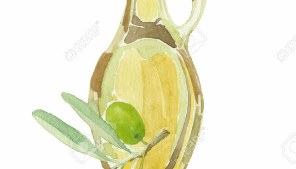 Olive branch and a bottle of olive oil drawing by watercolor. Ha